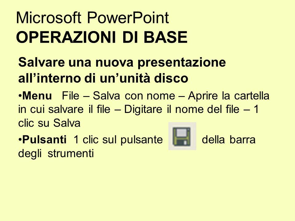 Microsoft PowerPoint OPERAZIONI DI BASE Salvare una nuova presentazione allinterno di ununità disco Menu File – Salva con nome – Aprire la cartella in