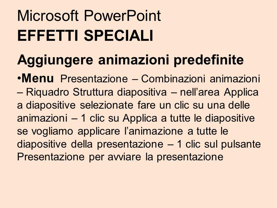 Microsoft PowerPoint EFFETTI SPECIALI Aggiungere animazioni predefinite Menu Presentazione – Combinazioni animazioni – Riquadro Struttura diapositiva