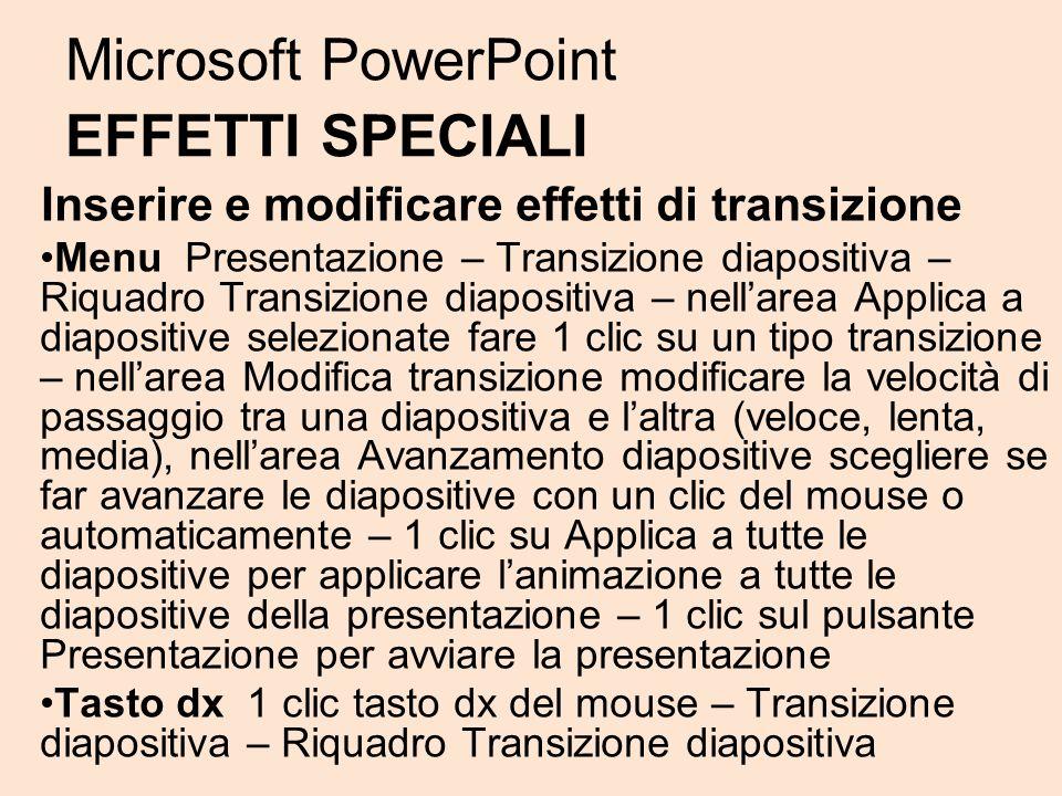 Microsoft PowerPoint EFFETTI SPECIALI Inserire e modificare effetti di transizione Menu Presentazione – Transizione diapositiva – Riquadro Transizione