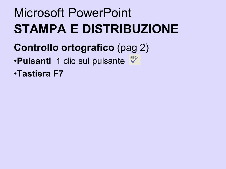Microsoft PowerPoint STAMPA E DISTRIBUZIONE Controllo ortografico (pag 2) Pulsanti 1 clic sul pulsante Tastiera F7