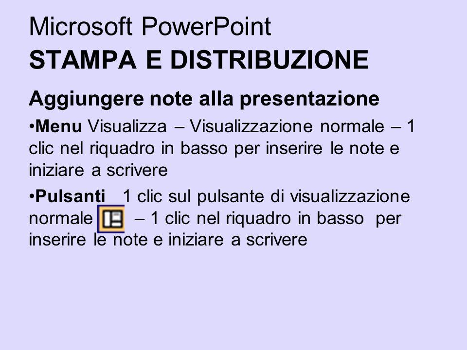 Microsoft PowerPoint STAMPA E DISTRIBUZIONE Aggiungere note alla presentazione Menu Visualizza – Visualizzazione normale – 1 clic nel riquadro in bass