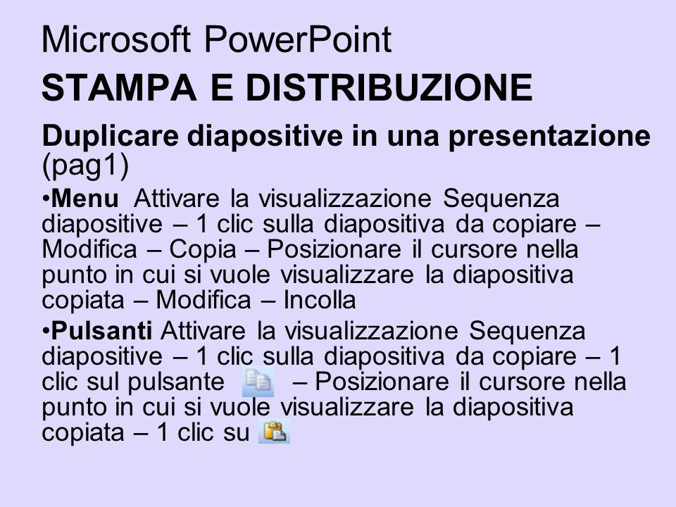 Microsoft PowerPoint STAMPA E DISTRIBUZIONE Duplicare diapositive in una presentazione (pag1) Menu Attivare la visualizzazione Sequenza diapositive –