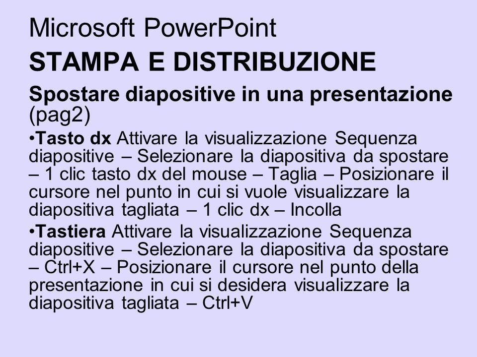 Microsoft PowerPoint STAMPA E DISTRIBUZIONE Spostare diapositive in una presentazione (pag2) Tasto dx Attivare la visualizzazione Sequenza diapositive