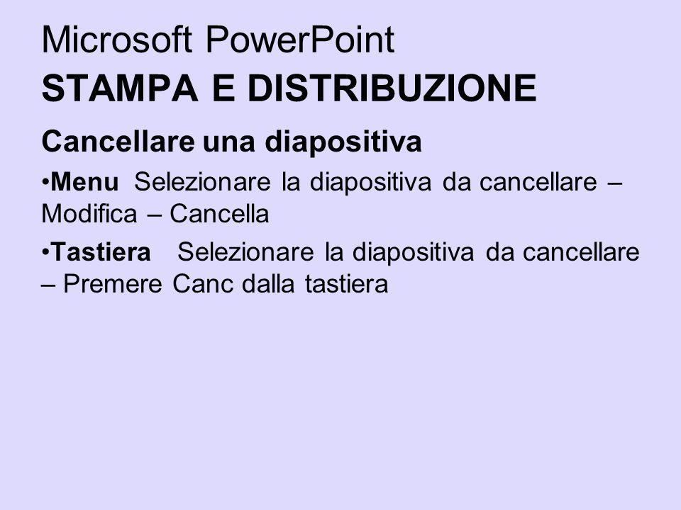 Microsoft PowerPoint STAMPA E DISTRIBUZIONE Cancellare una diapositiva Menu Selezionare la diapositiva da cancellare – Modifica – Cancella Tastiera Se