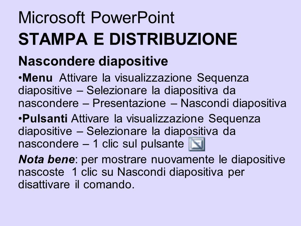 Microsoft PowerPoint STAMPA E DISTRIBUZIONE Nascondere diapositive Menu Attivare la visualizzazione Sequenza diapositive – Selezionare la diapositiva