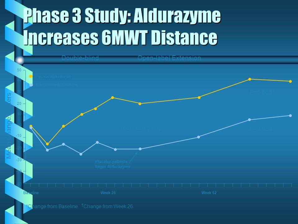 Phase 3 Study: Aldurazyme Increases 6MWT Distance Baseline Week 26 Week 62 P=0.066* (between group) Mean Change, Meters Placebo/Aldurazyme Aldurazyme/