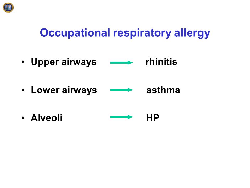Occupational respiratory allergy Upper airways rhinitis Lower airwaysasthma Alveoli HP