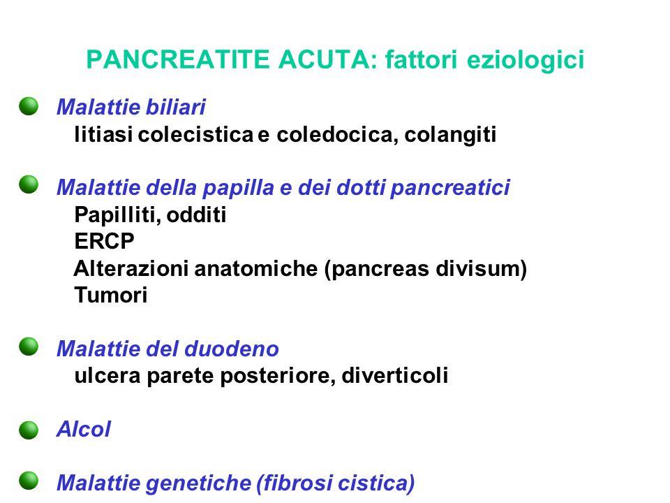 PANCREATITE ACUTA: fattori eziologici Malattie biliari litiasi colecistica e coledocica, colangiti Malattie della papilla e dei dotti pancreatici Papi