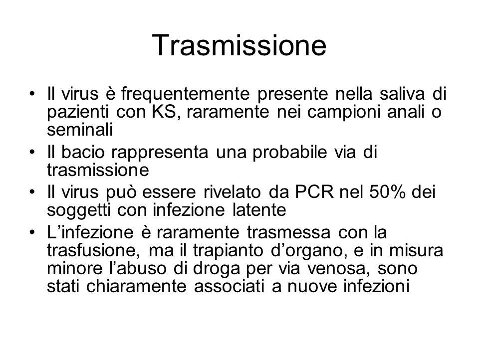 Trasmissione Il virus è frequentemente presente nella saliva di pazienti con KS, raramente nei campioni anali o seminali Il bacio rappresenta una prob