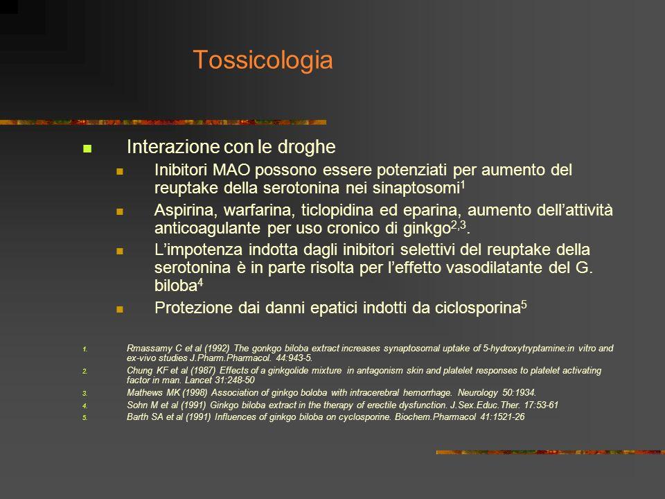 Tossicologia Interazione con le droghe Inibitori MAO possono essere potenziati per aumento del reuptake della serotonina nei sinaptosomi 1 Aspirina, w