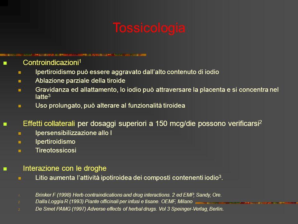 Controindicazioni 1 Ipertiroidismo può essere aggravato dallalto contenuto di iodio Ablazione parziale della tiroide Gravidanza ed allattamento, lo io