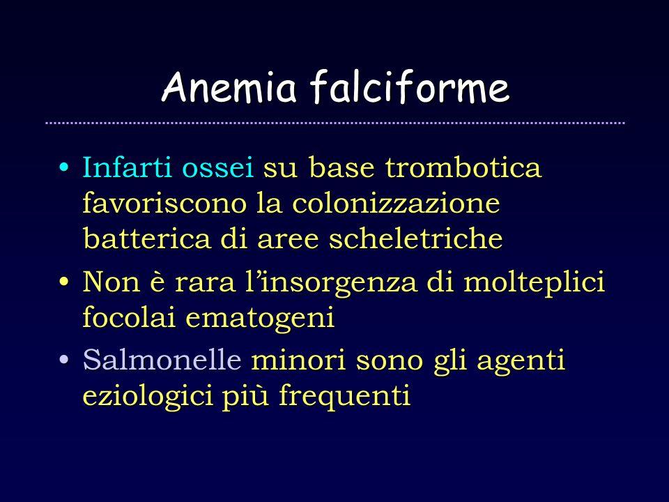 Anemia falciforme Infarti ossei su base trombotica favoriscono la colonizzazione batterica di aree scheletricheInfarti ossei su base trombotica favori