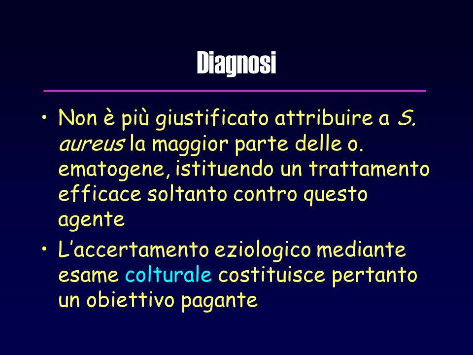 Diagnosi Non è più giustificato attribuire a S. aureus la maggior parte delle o. ematogene, istituendo un trattamento efficace soltanto contro questo