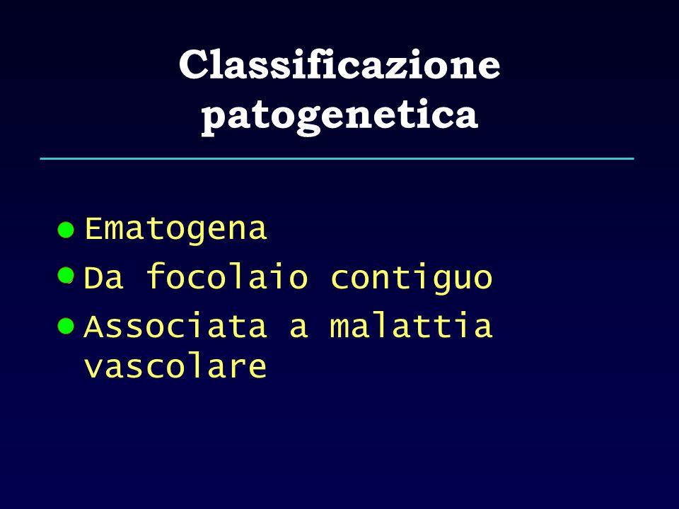 Classificazione patogenetica Ematogena Da focolaio contiguo Associata a malattia vascolare