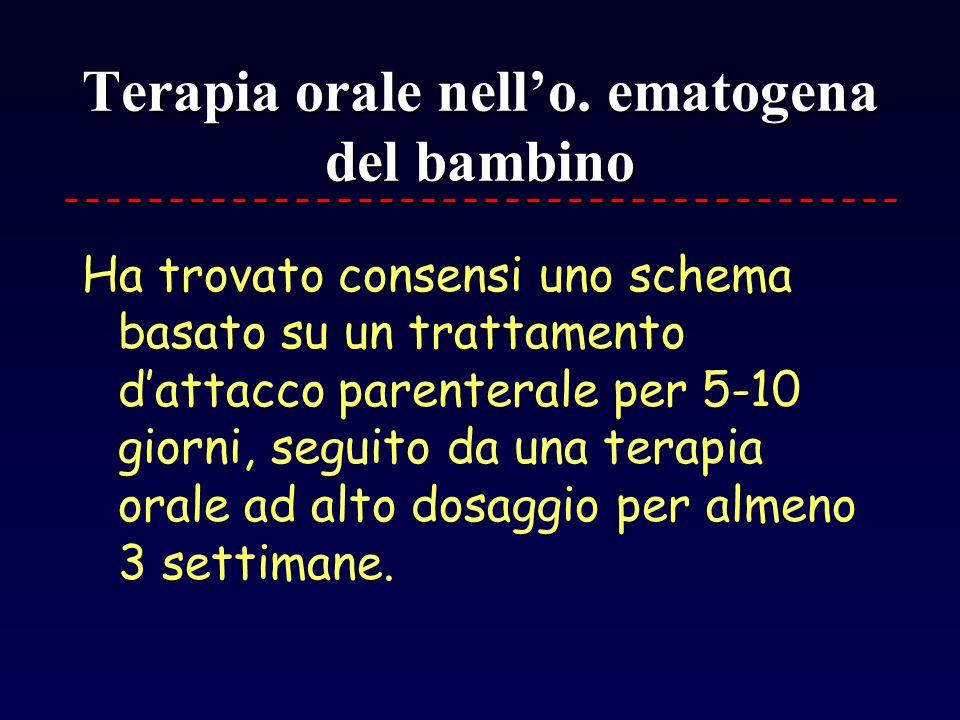 Terapia orale nello. ematogena del bambino Ha trovato consensi uno schema basato su un trattamento dattacco parenterale per 5-10 giorni, seguito da un