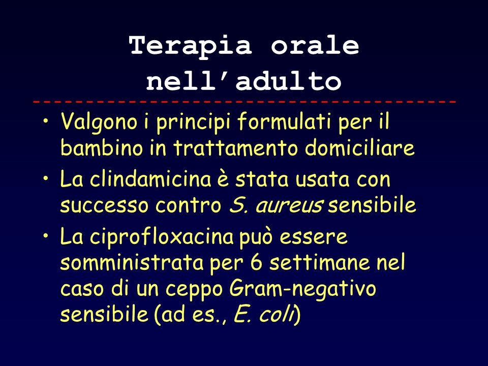 Terapia orale nelladulto Valgono i principi formulati per il bambino in trattamento domiciliare La clindamicina è stata usata con successo contro S. a