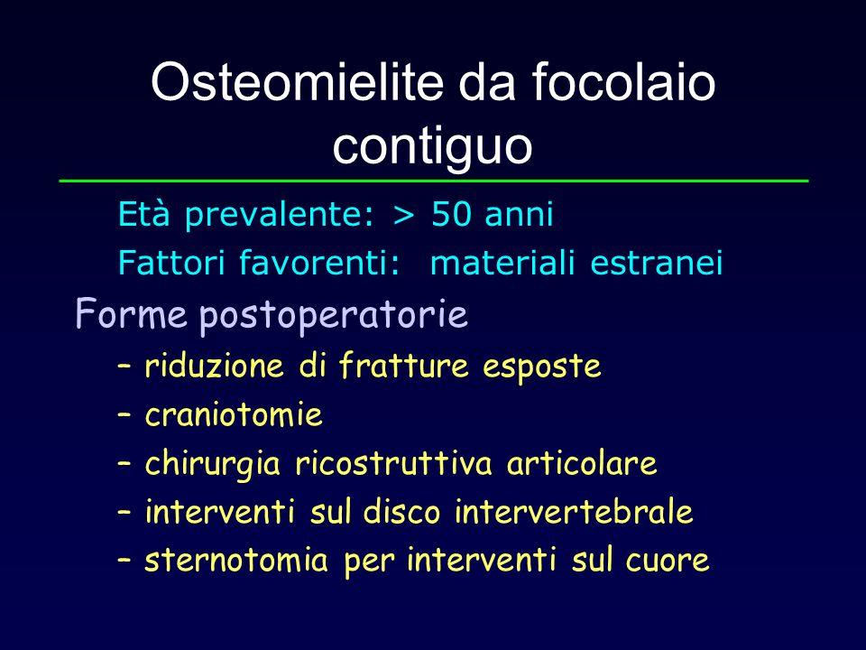 Osteomielite da focolaio contiguo Età prevalente: > 50 anni Fattori favorenti: materiali estranei Forme postoperatorie –riduzione di fratture esposte