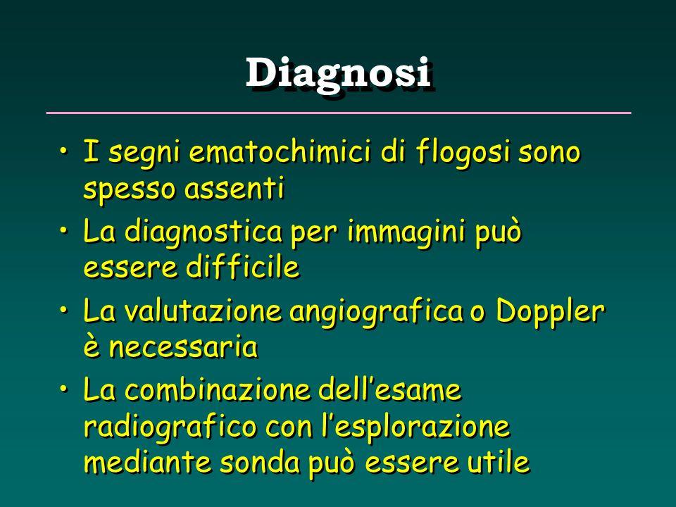 Diagnosi I segni ematochimici di flogosi sono spesso assenti La diagnostica per immagini può essere difficile La valutazione angiografica o Doppler è