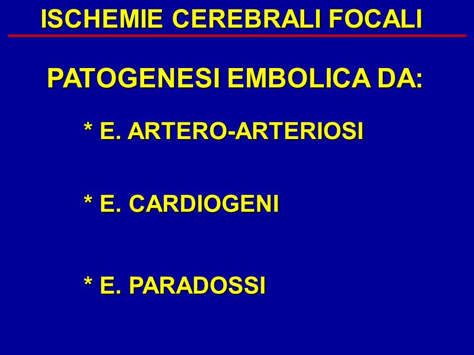 ISCHEMIE CEREBRALI FOCALI PATOGENESI EMBOLICA DA: * E. ARTERO-ARTERIOSI * E. CARDIOGENI * E. PARADOSSI