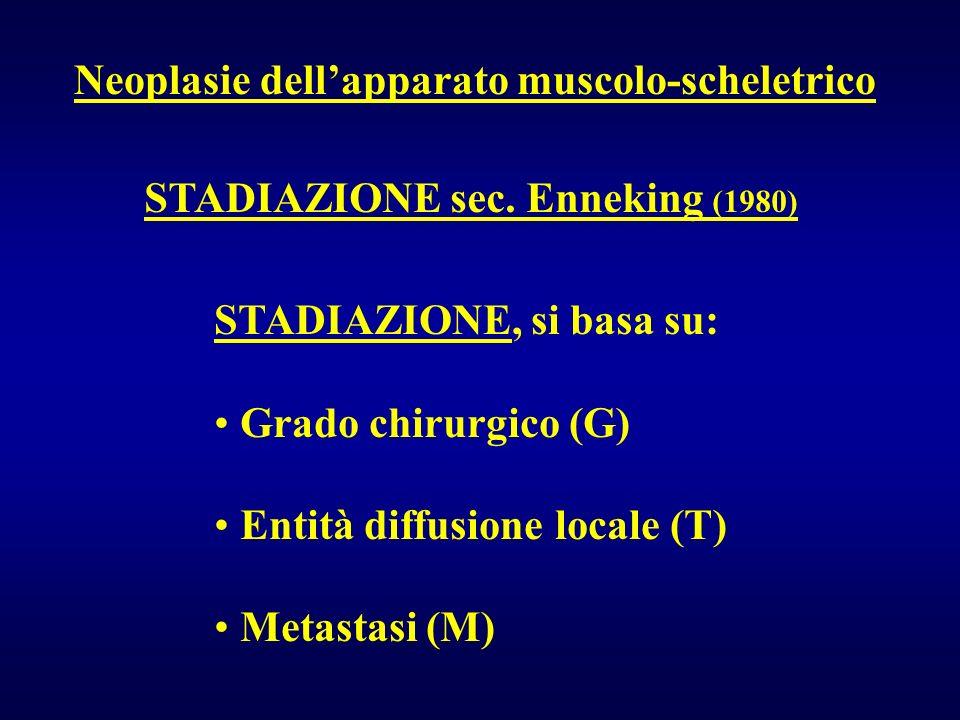 Neoplasie dellapparato muscolo-scheletrico STADIAZIONE sec. Enneking (1980) STADIAZIONE, si basa su: Grado chirurgico (G) Entità diffusione locale (T)