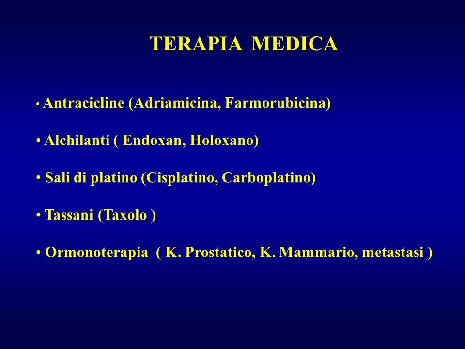 TERAPIA MEDICA Antracicline (Adriamicina, Farmorubicina) Alchilanti ( Endoxan, Holoxano) Sali di platino (Cisplatino, Carboplatino) Tassani (Taxolo )