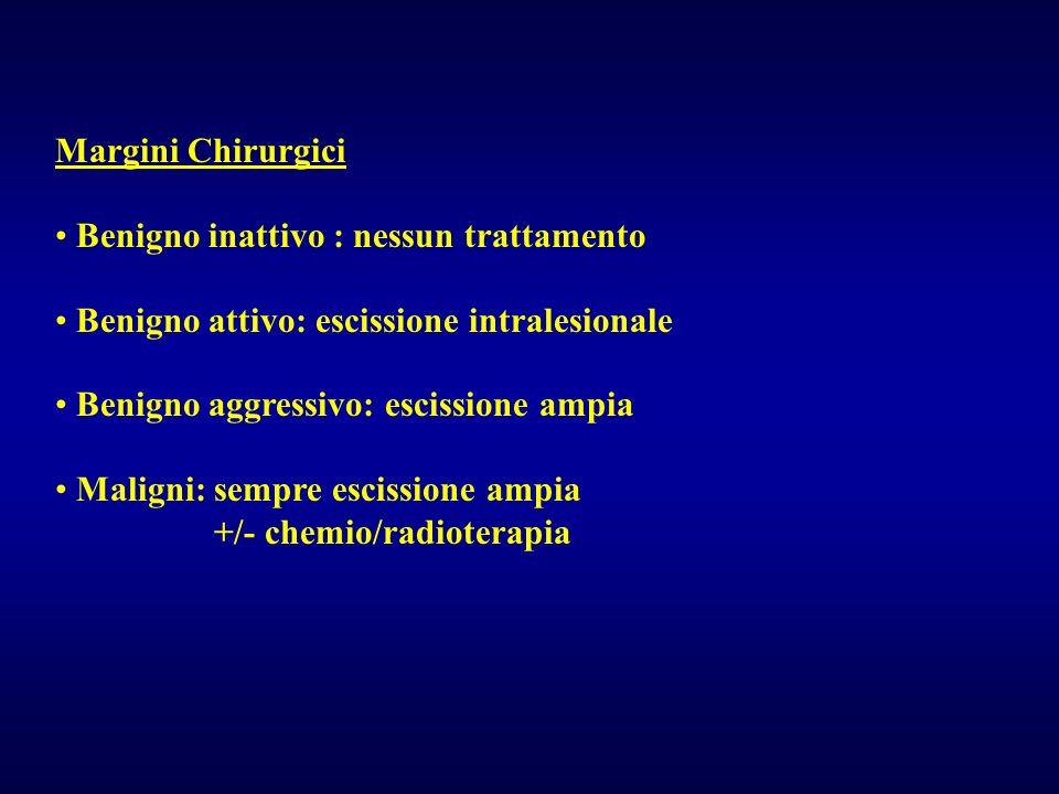 Margini Chirurgici Benigno inattivo : nessun trattamento Benigno attivo: escissione intralesionale Benigno aggressivo: escissione ampia Maligni: sempr