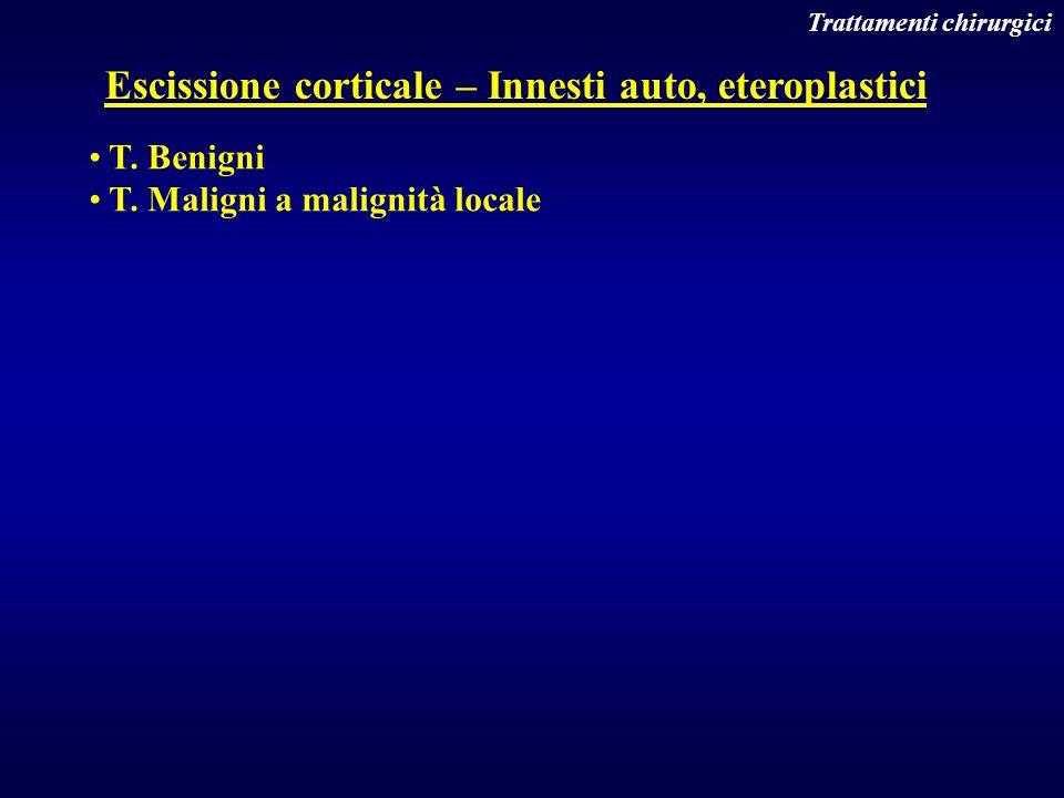 Trattamenti chirurgici Escissione corticale – Innesti auto, eteroplastici T. Benigni T. Maligni a malignità locale