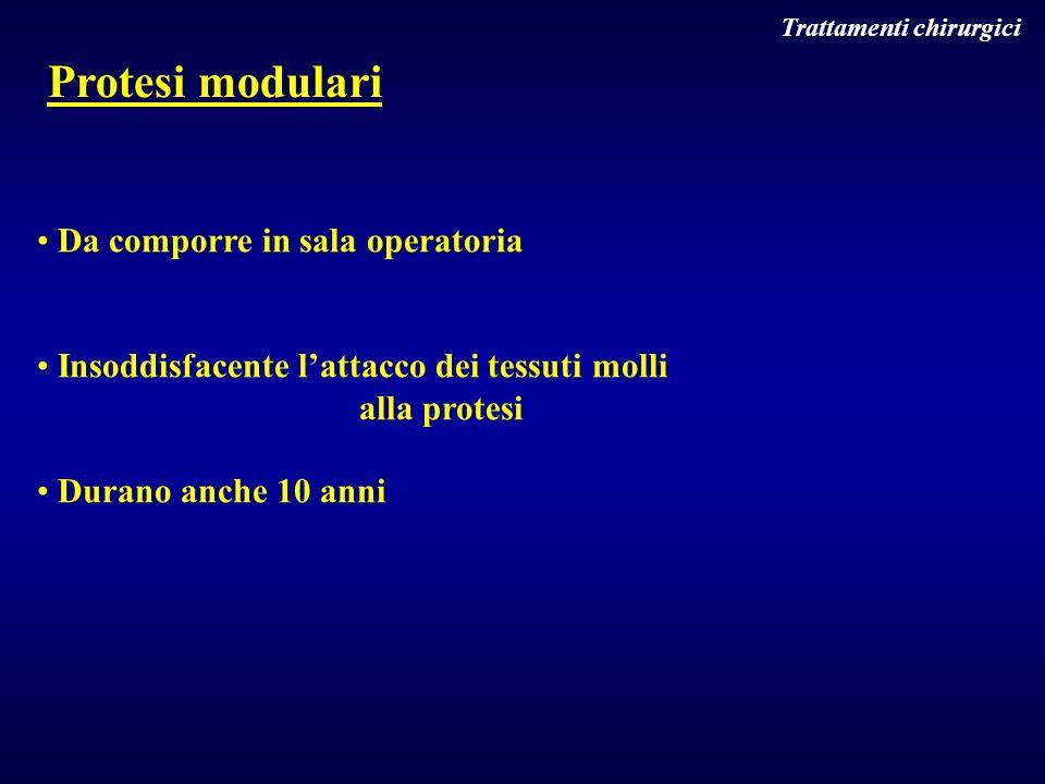 Trattamenti chirurgici Protesi modulari Da comporre in sala operatoria Insoddisfacente lattacco dei tessuti molli alla protesi Durano anche 10 anni