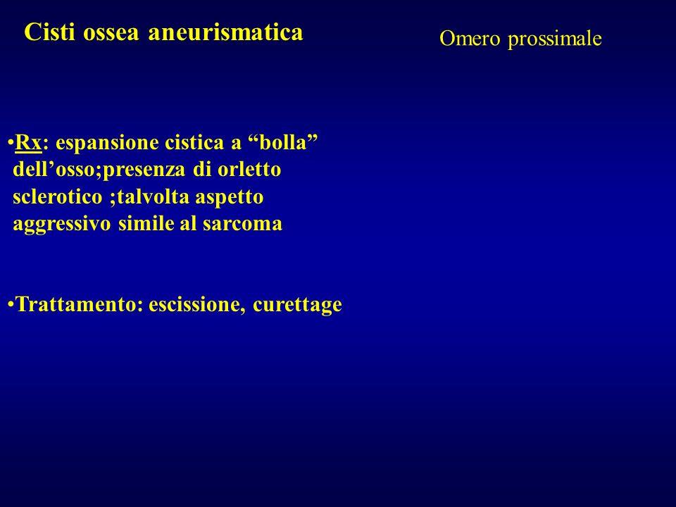 Cisti ossea aneurismatica Omero prossimale Rx: espansione cistica a bolla dellosso;presenza di orletto sclerotico ;talvolta aspetto aggressivo simile