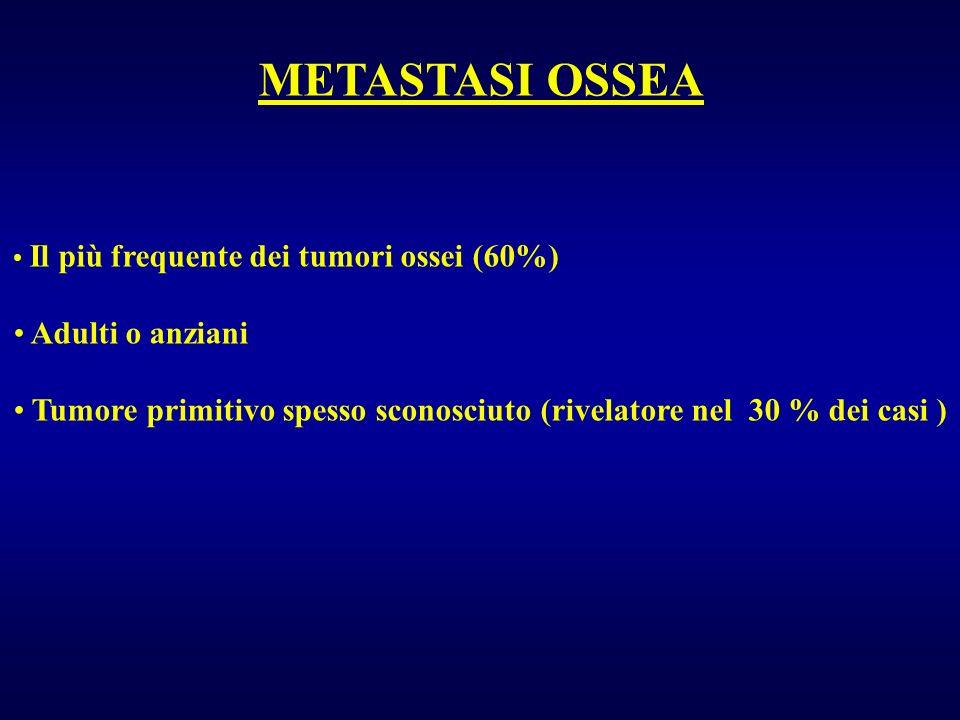 Il più frequente dei tumori ossei (60%) Adulti o anziani Tumore primitivo spesso sconosciuto (rivelatore nel 30 % dei casi ) METASTASI OSSEA