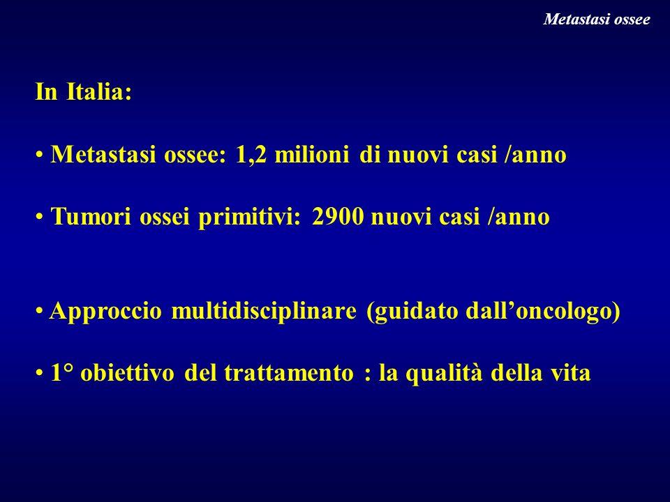 In Italia: Metastasi ossee: 1,2 milioni di nuovi casi /anno Tumori ossei primitivi: 2900 nuovi casi /anno Approccio multidisciplinare (guidato dallonc