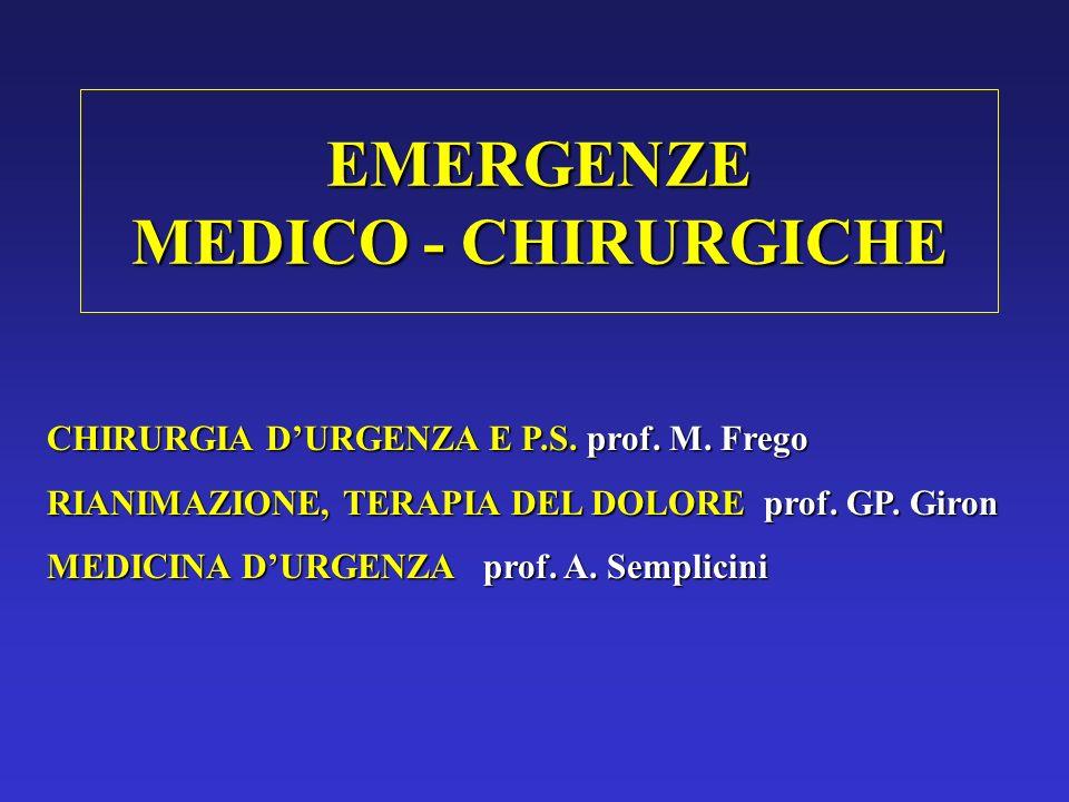 EMERGENZE MEDICO - CHIRURGICHE CHIRURGIA DURGENZA E P.S. prof. M. Frego RIANIMAZIONE, TERAPIA DEL DOLORE prof. GP. Giron MEDICINA DURGENZA prof. A. Se