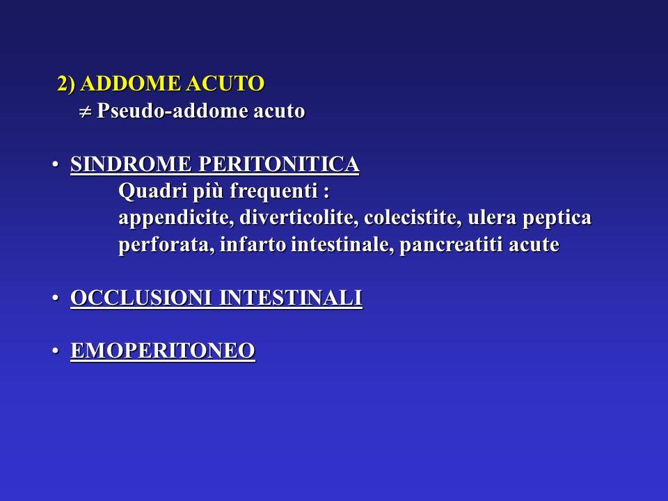 2) ADDOME ACUTO 2) ADDOME ACUTO Pseudo-addome acuto Pseudo-addome acuto SINDROME PERITONITICA SINDROME PERITONITICA Quadri più frequenti : appendicite