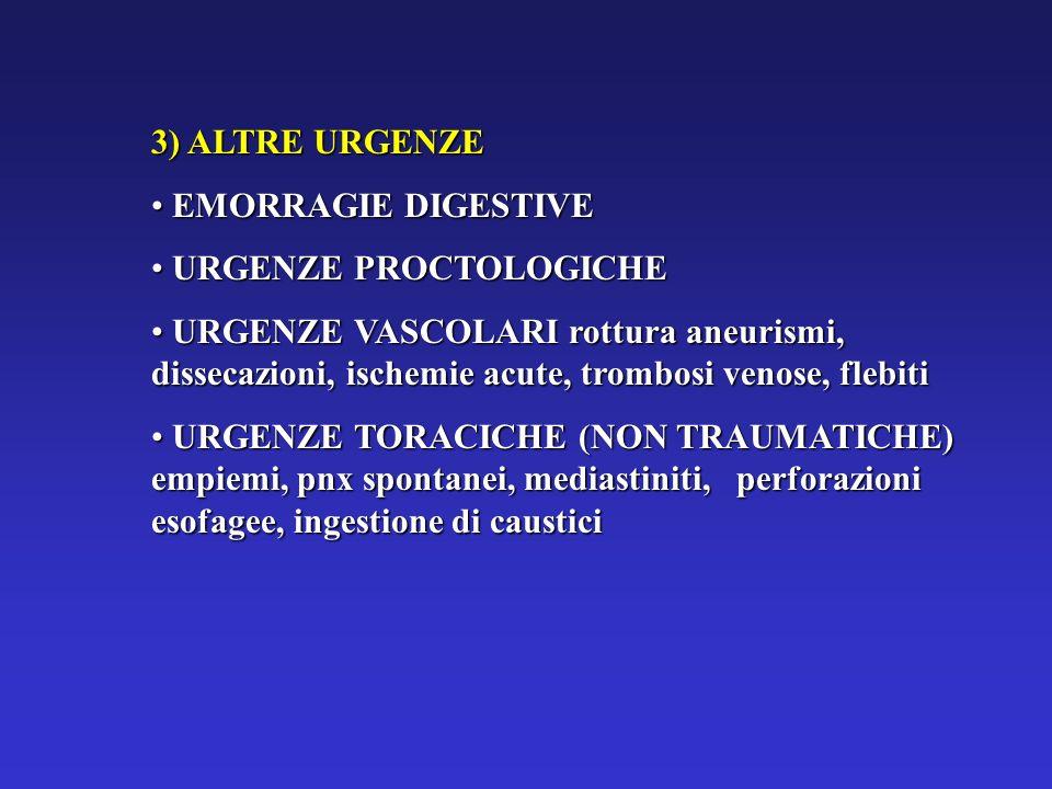 3) ALTRE URGENZE EMORRAGIE DIGESTIVE EMORRAGIE DIGESTIVE URGENZE PROCTOLOGICHE URGENZE PROCTOLOGICHE URGENZE VASCOLARI rottura aneurismi, dissecazioni