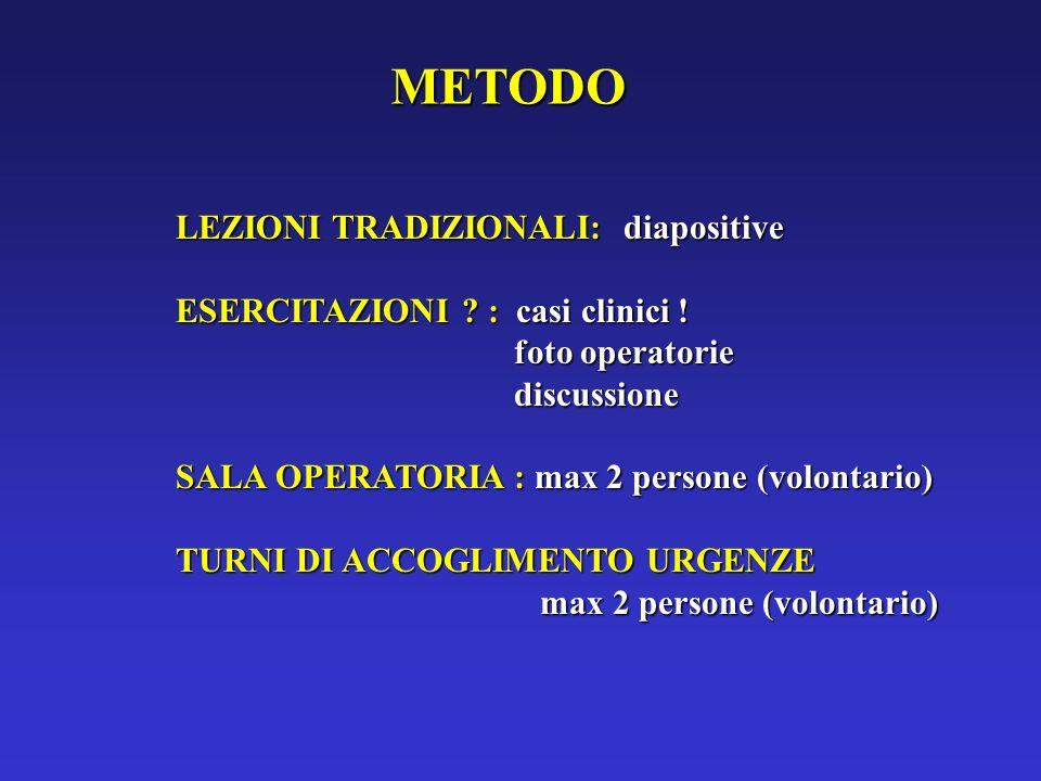 LEZIONI TRADIZIONALI: diapositive ESERCITAZIONI ? : casi clinici ! foto operatorie foto operatorie discussione discussione SALA OPERATORIA : max 2 per
