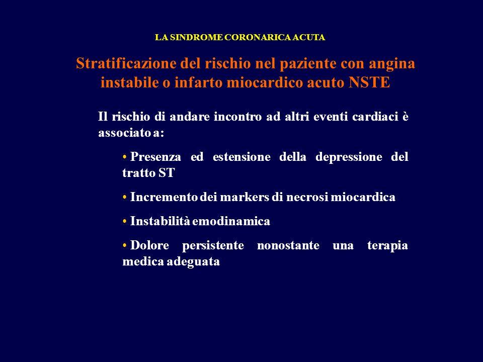 LA SINDROME CORONARICA ACUTA Stratificazione del rischio nel paziente con angina instabile o infarto miocardico acuto NSTE Il rischio di andare incont