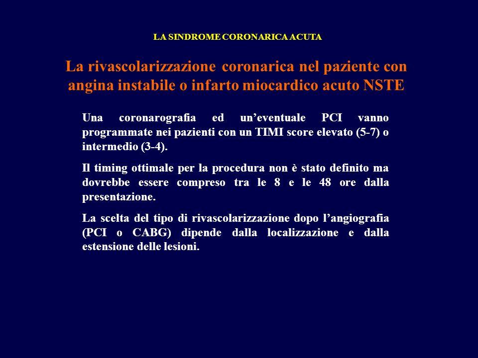 LA SINDROME CORONARICA ACUTA La rivascolarizzazione coronarica nel paziente con angina instabile o infarto miocardico acuto NSTE Una coronarografia ed