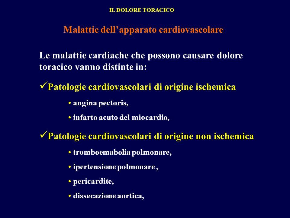 Le malattie cardiache che possono causare dolore toracico vanno distinte in: Patologie cardiovascolari di origine ischemica angina pectoris, infarto a
