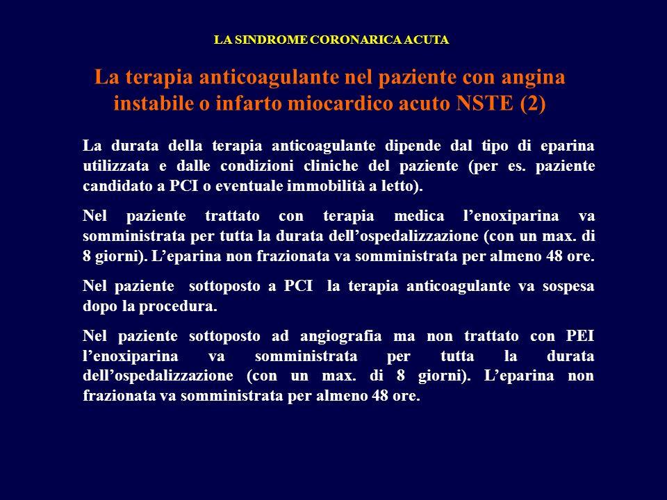 LA SINDROME CORONARICA ACUTA La terapia anticoagulante nel paziente con angina instabile o infarto miocardico acuto NSTE (2) La durata della terapia a