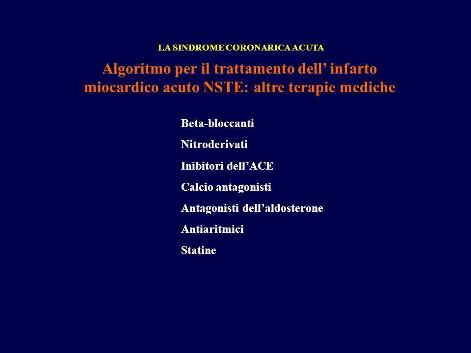 Algoritmo per il trattamento dell infarto miocardico acuto NSTE: altre terapie mediche LA SINDROME CORONARICA ACUTA Beta-bloccanti Nitroderivati Inibi