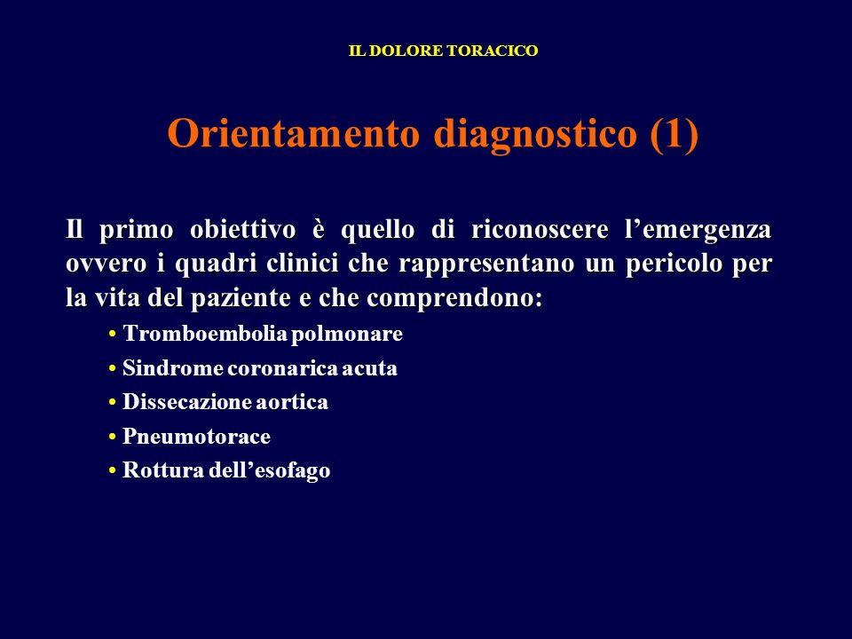 Orientamento diagnostico (1) Il primo obiettivo è quello di riconoscere lemergenza ovvero i quadri clinici che rappresentano un pericolo per la vita d