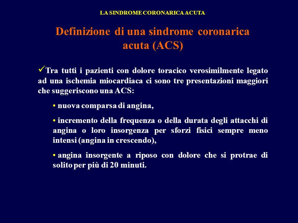Definizione di una sindrome coronarica acuta (ACS) Tra tutti i pazienti con dolore toracico verosimilmente legato ad una ischemia miocardiaca ci sono