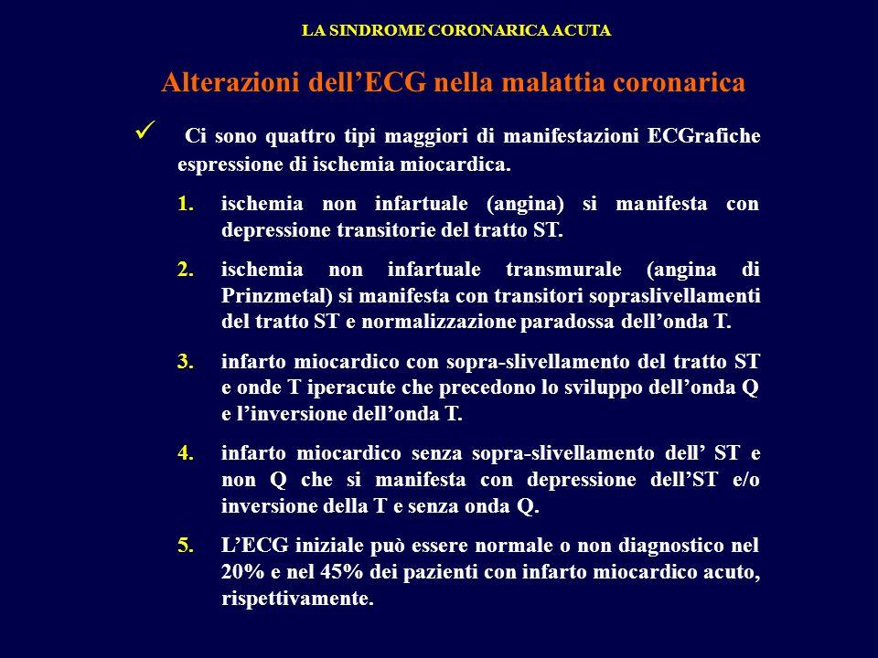 Ci sono quattro tipi maggiori di manifestazioni ECGrafiche espressione di ischemia miocardica. 1.ischemia non infartuale (angina) si manifesta con dep