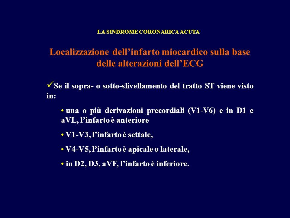 Se il sopra- o sotto-slivellamento del tratto ST viene visto in: una o più derivazioni precordiali (V1-V6) e in D1 e aVL, linfarto è anteriore V1-V3,