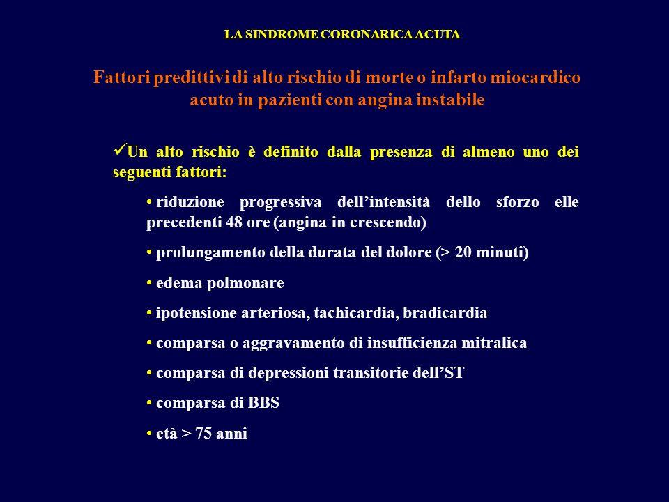 Fattori predittivi di alto rischio di morte o infarto miocardico acuto in pazienti con angina instabile Un alto rischio è definito dalla presenza di a