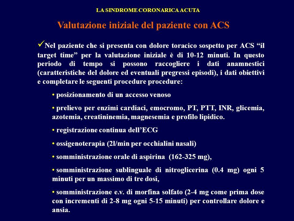 Nel paziente che si presenta con dolore toracico sospetto per ACS il target time per la valutazione iniziale è di 10-12 minuti. In questo periodo di t
