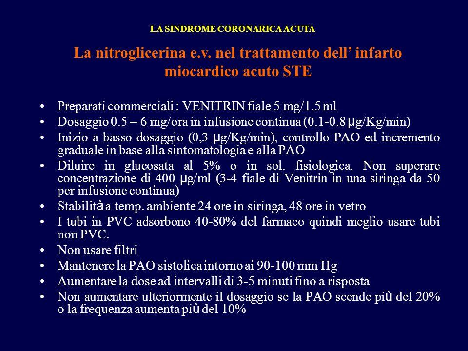 Preparati commerciali : VENITRIN fiale 5 mg/1.5 ml Dosaggio 0.5 – 6 mg/ora in infusione continua (0.1-0.8 µ g/Kg/min) Inizio a basso dosaggio (0,3 µ g