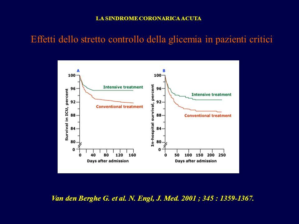 Effetti dello stretto controllo della glicemia in pazienti critici LA SINDROME CORONARICA ACUTA Van den Berghe G. et al. N. Engl, J. Med. 2001 ; 345 :