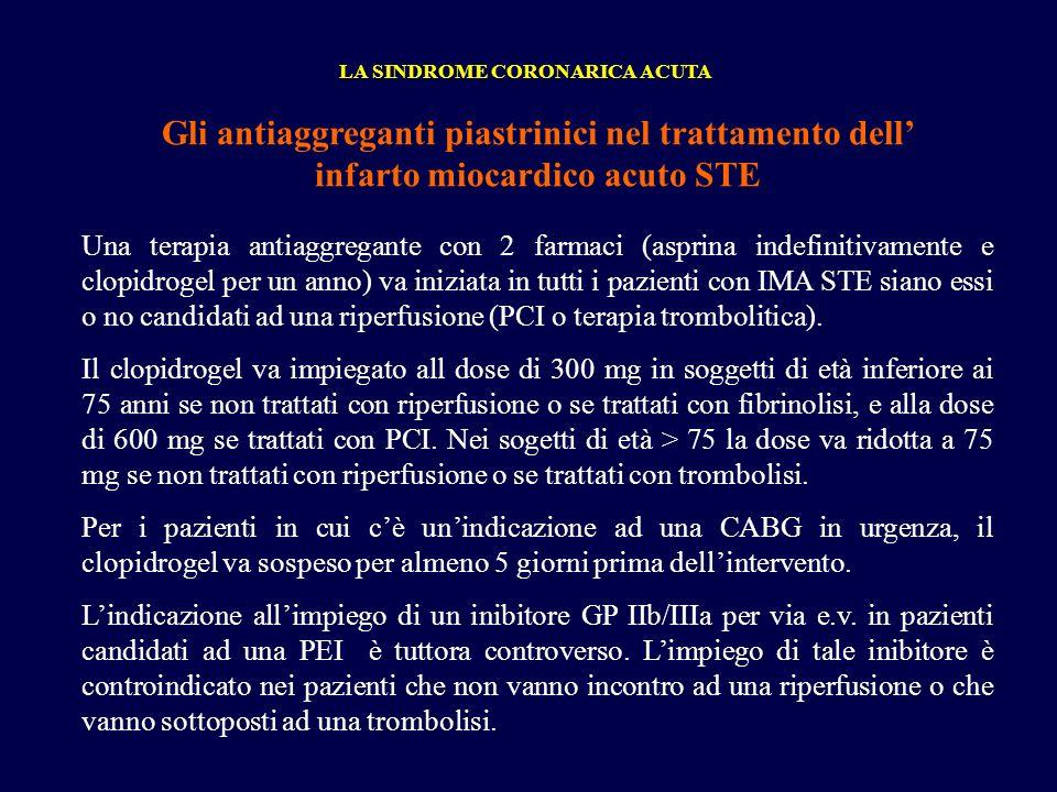Gli antiaggreganti piastrinici nel trattamento dell infarto miocardico acuto STE LA SINDROME CORONARICA ACUTA Una terapia antiaggregante con 2 farmaci