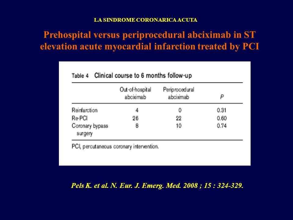 Prehospital versus periprocedural abciximab in ST elevation acute myocardial infarction treated by PCI LA SINDROME CORONARICA ACUTA Pels K. et al. N.
